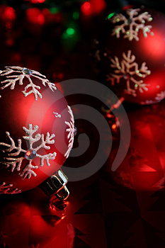 Red Snowflake Baubles Upclose