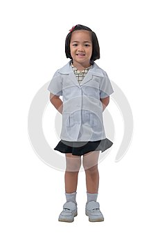 Cute Little asian girl doctor smiling while wearing Doctor`s uniform