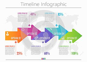 Business data visualization. timeline infographic icons designed for abstract background template with 5 options.