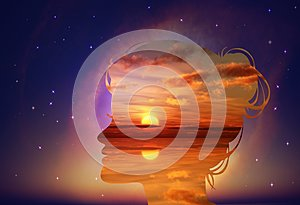 Free thinking, nourish your mind, positive thoughts and good intentions, brain power concept