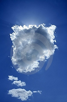 Cloud on blue sky sun backlight light halo