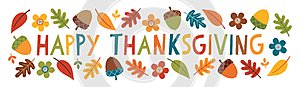 Cute happy thanksgiving text web banner leaves acorns flowers