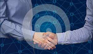 Handshake business partners with virtual contact customer and business stock market chart background, concept of business