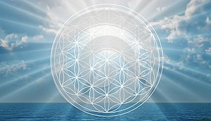Flower of life symbol in the sky, portal, life