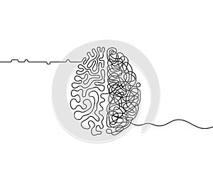 Human brain creativity vs logic chaos and order a continuous line drawing concept, organised vs disorganised