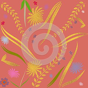 Hand drawn floral backdrop. Golden foil surface. Floral template for cards, backdrop, invitation, decorations & greetings.