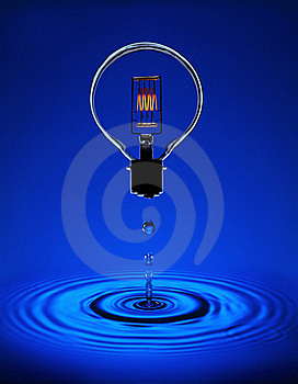 Electric light bulb with blue ripples
