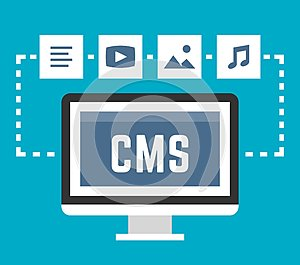 CMS concept on blue background