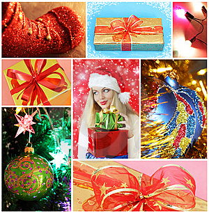 Collage on Christmas theme
