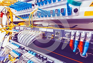 Information Technology Computer Network, Telecommunication Ethernet Cables Connected to Internet Switch. Network switch