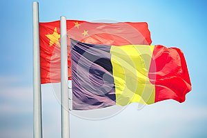 Flags of Belgium and China