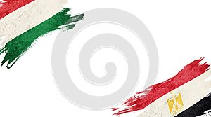 Flags of Hungary andEgypt on White Background