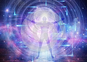 Man universe, meditation, healing, human body energy beams