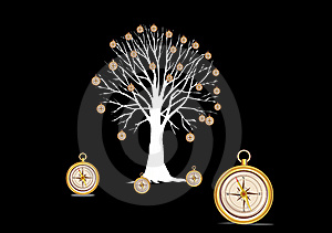 Tree with compasses