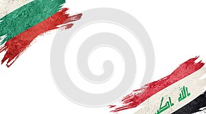 Flags of Bulgaria and Iraq on white background
