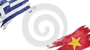 Flags of Greece and Vietnam on white background