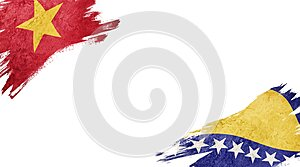 Flags of Vietnam and Bosnia and Herzegovina on white background
