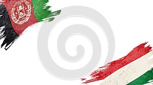 Flags of Afghanistan and Hungary on white background