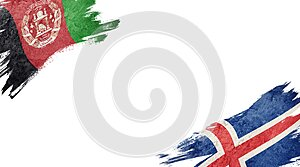Flags of Afghanistan and Iceland on white background