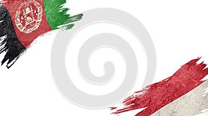 Flags of Afghanistan and Monaco on white background