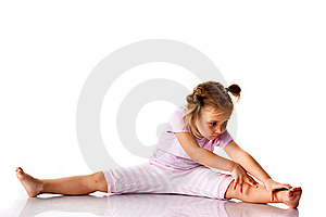 Beautiful girl exercising, stretching