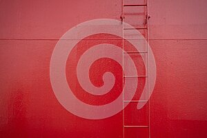 Red ladder on a red boat