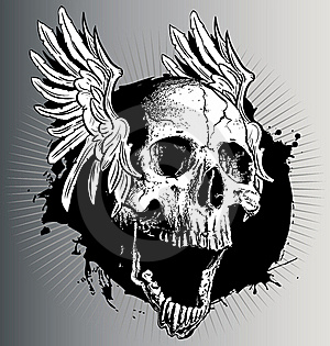 Vector skull with wings