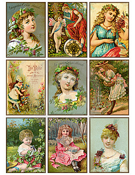Set of nine vintage girls antique trading cards
