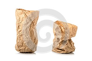 Crumpled brown paper bag for food. Studio shot  on white