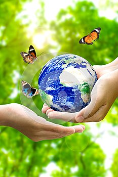 Woman hands holding world or globe give to another hand with butterfly on earth day.Environment conservation and energy saving
