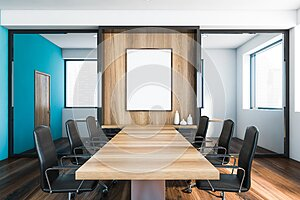 White and blue meeting room interior with poster