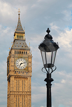 Big Ben and latern. Focus on Big Ben.