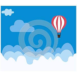 Red hot air balloon flying in the blue sky with clouds