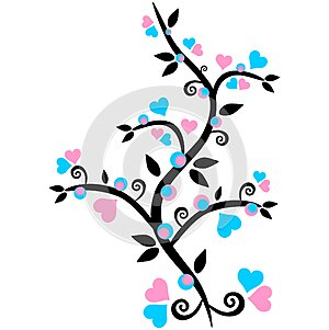 Pink and blue heart with design vector on white background