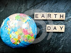 Earth day on grey background