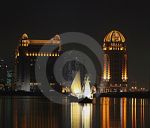 Dhows in Qatar at night