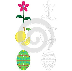 Objects for coloring book pages - flower fruit and easter egg