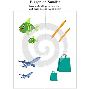 Identify Bigger or Smaller objects - fish, pencil, aeroplane, bags