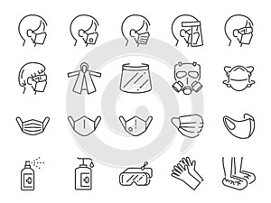 Covid-19 protection equipments line icon set. Included icons as face mask, 3d mask, face shield, alcohol gel, ppe suite a