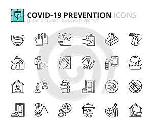 Simple set of outline icons about Coronavirus prevention