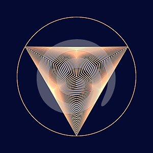 Golden color triangle form with lines transition