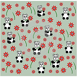 Cute panda with flower seamless pattern background