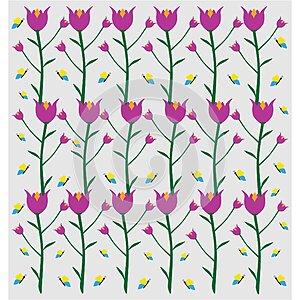 Flower vertical pattern with beautiful butterfly seamless pattern