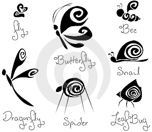 7 Different Concept Stylized Insects B&W