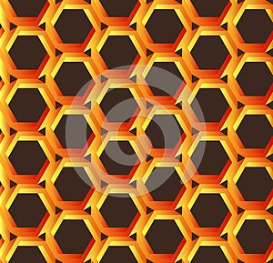 Abstract orange hexagonal pattern like honeycomb with Penrose impossible object or impossible figure or an undecidable figure