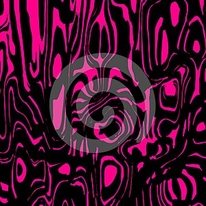 A twisted interweaving of pink spots from flowing lava and a light chaotic cycle