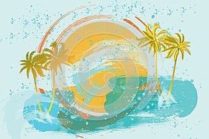 Sun sea and palm trees. Logo. Beach party