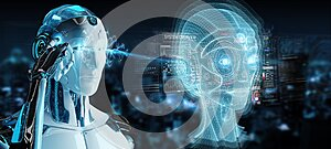 White robot  using digital artificial intelligence head interface 3D rendering