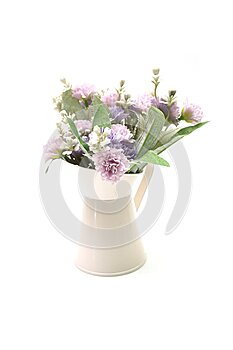 Flowers Bouquet in metal vase on white background