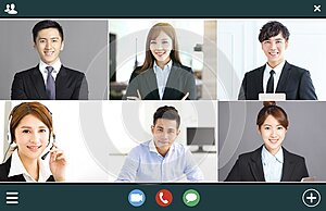 Screenshot of  smiling business group online brainstorm on video conference